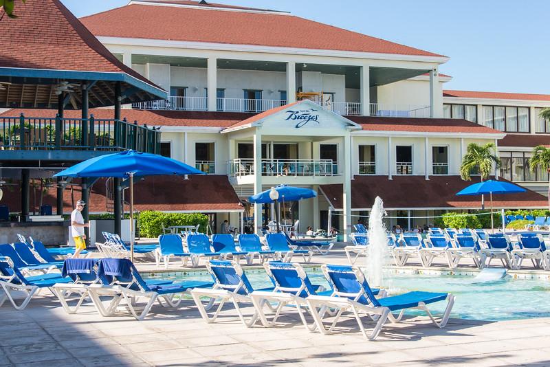 Ocean-facing view of Breezes Resort at Cable Beach, Nassau, Bahamas - February 2017
