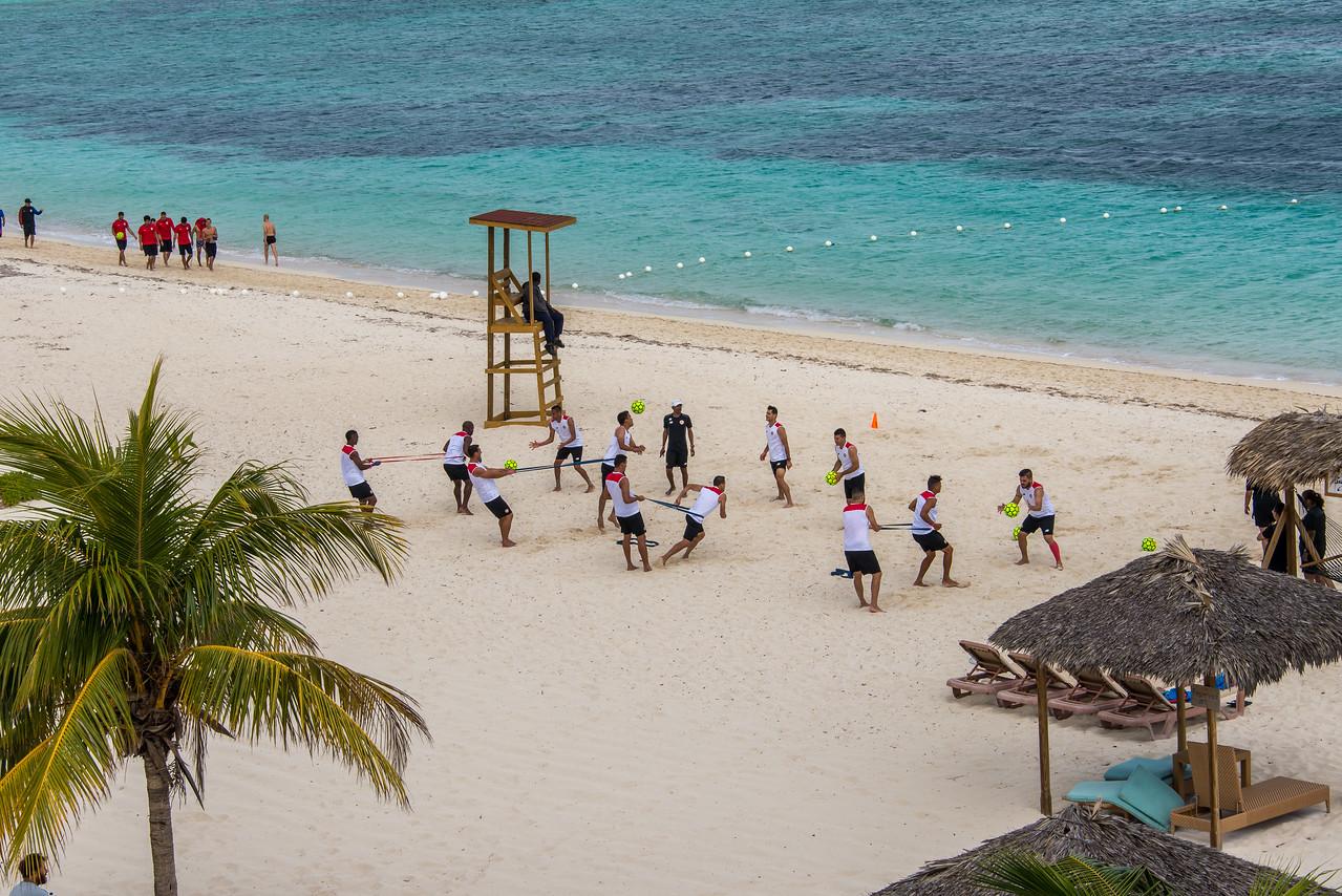 Professional beach soccer players getting ready for CONCACAF Championship, which was a qualifying event for the FIFA Beach Soccer World Cup.