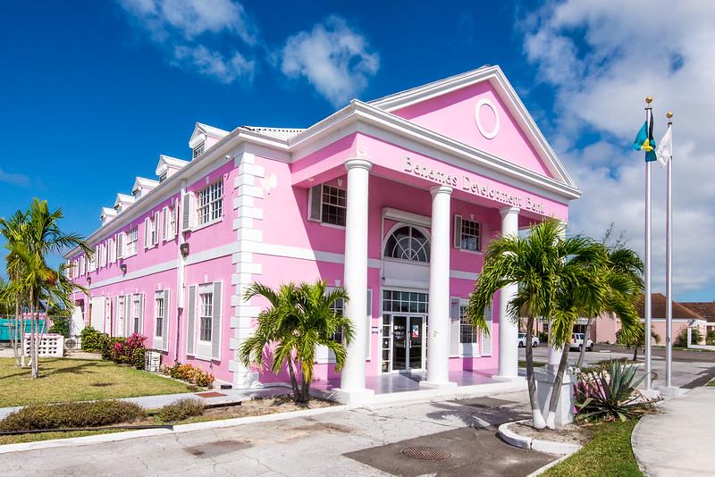 Colorful bank near resort on Cable Beach, Nassau, Bahamas - February 2017