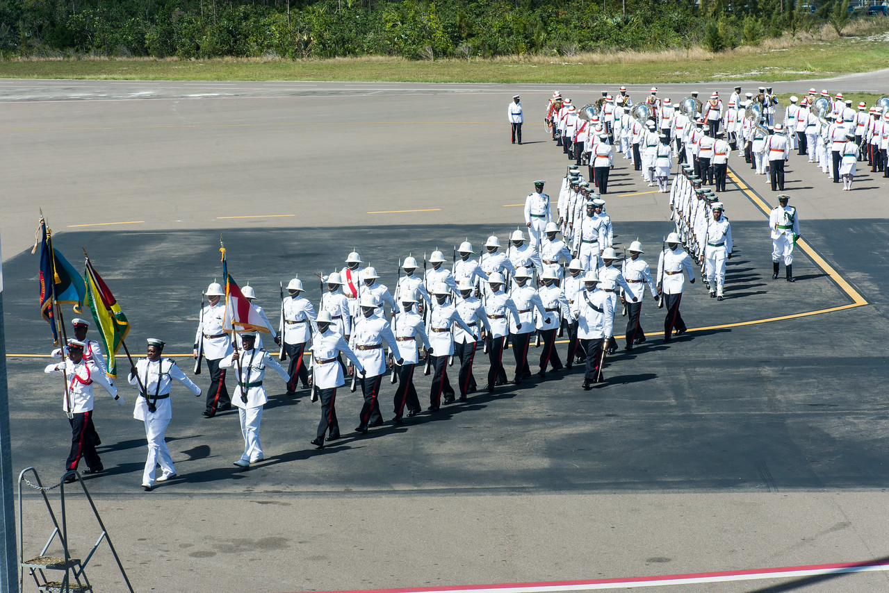 While waiting for my flight back home, the Bahama military welcomed the President of Guyana, David A. Granger.