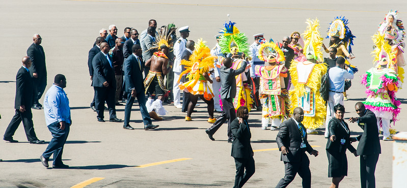 Native dancers perform for  the President of Guyana (David A. Granger in black tie) at the Nassau Airport.  March 2, 2017.