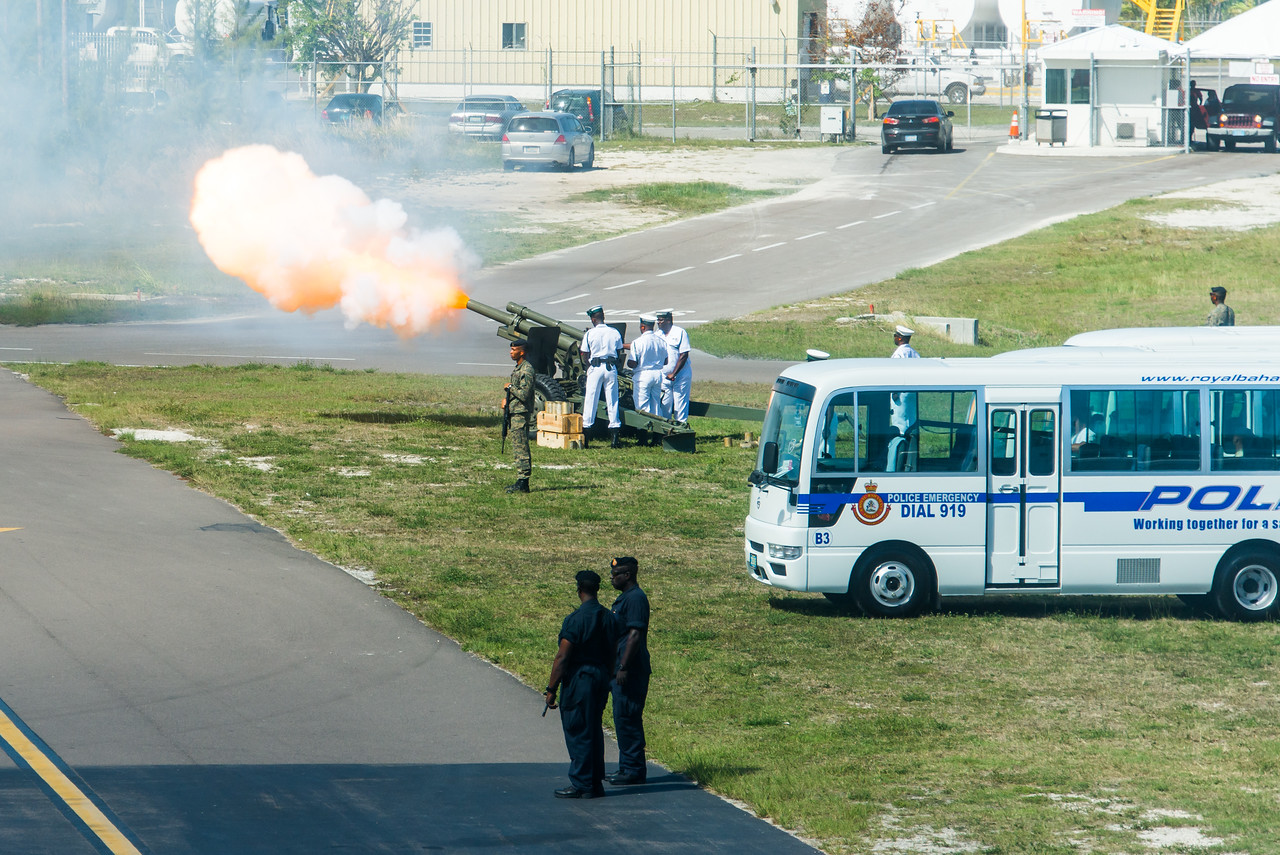 Bahamas military firing off one shot for each island as part of the welcoming of the President of  Guyana (David A. Granger) at the Nassau Airport.  March 2, 2017.