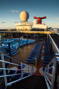 Sunset: view of top deck