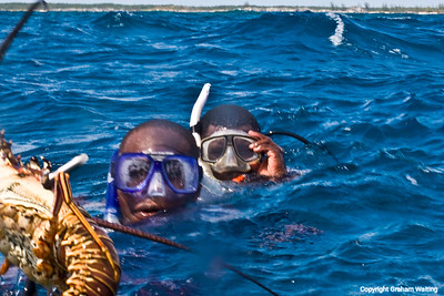 Satisfied divers with lobster catch, Bahama, Cat Island