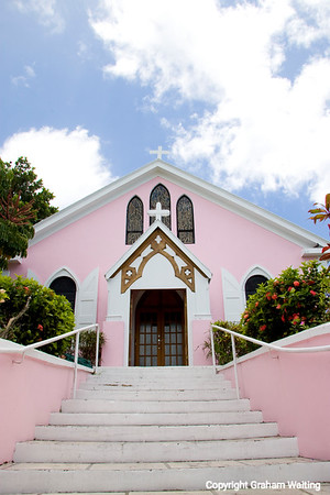 Pink church on Harbour Island, Bahama