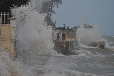 © Joseph Dougherty. All rights reserved.   Heavy surf from Hurricane Sandy hits Cable Beach on New Providence, Bahamas.