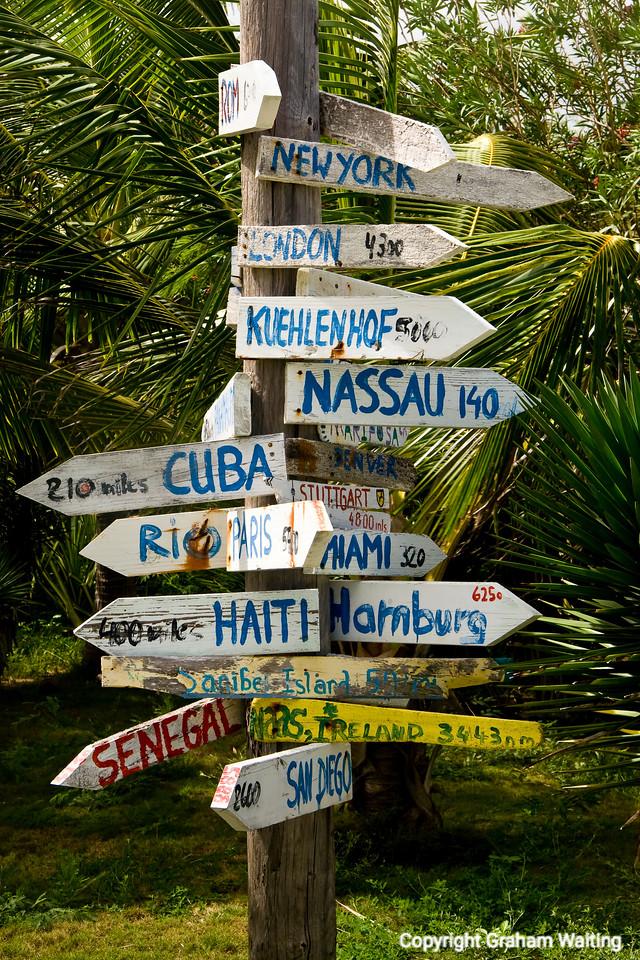 Sign on Cat Island at Greenwood Resort