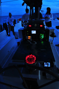 © Joseph Dougherty. All rights reserved.  Predawn twilight in the sailboat's cockpit.