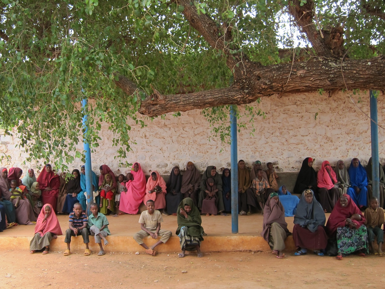 mothers waiting in line at the clinic