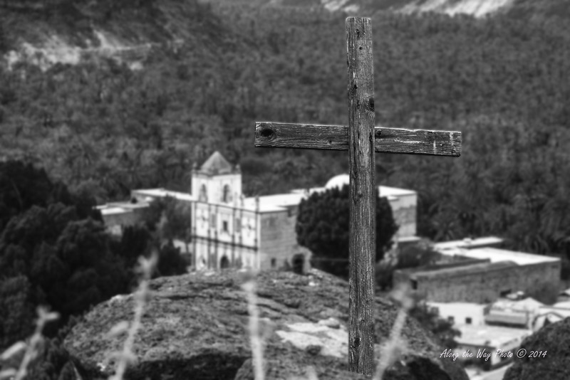 San IgnacioB&W 5510-2 Old wooden cross on top of the hill overlooking the San Ignacio Mission in Black and White.