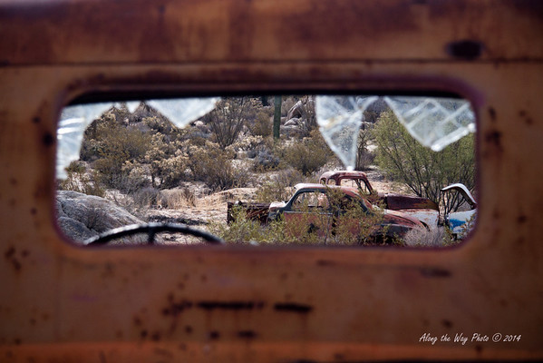 Catavina 4353<br /> Looking through the back window of the pick-up into the desert in the Baja Peninsula.