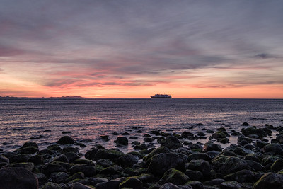 The National Geographic ship Venture at sunrise.