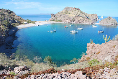 the sheltered cove at Agua Verde is a favorite hangout for sail boats