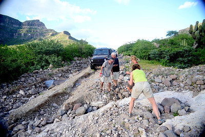 the first major road fix - the road workers had urged us, not to continue (the road would be impassable due to the last hurricane). We told them that we would be fine