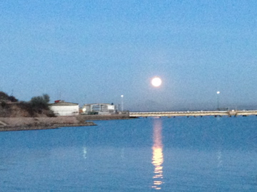 As we waited for our military check getting of the ferry we where greeted with this moonrise.