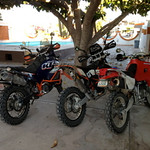 Motos wait at hotel in San Carlos, <br /> In the am Larry and I headed north Kino Bay for the night. Johnny heads south to Alamos then point s North.