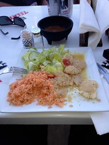 Fresh caught Scallops, garlic, salad..... this dosen't bother me.