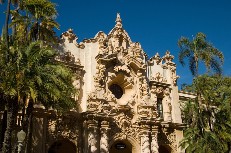 Ornate facade of the Casa del Prado at Balboa Park, in San Diego.
