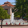 Relaxing by the fountain at the Reuben H. Fleet Science Center in Balboa Park.