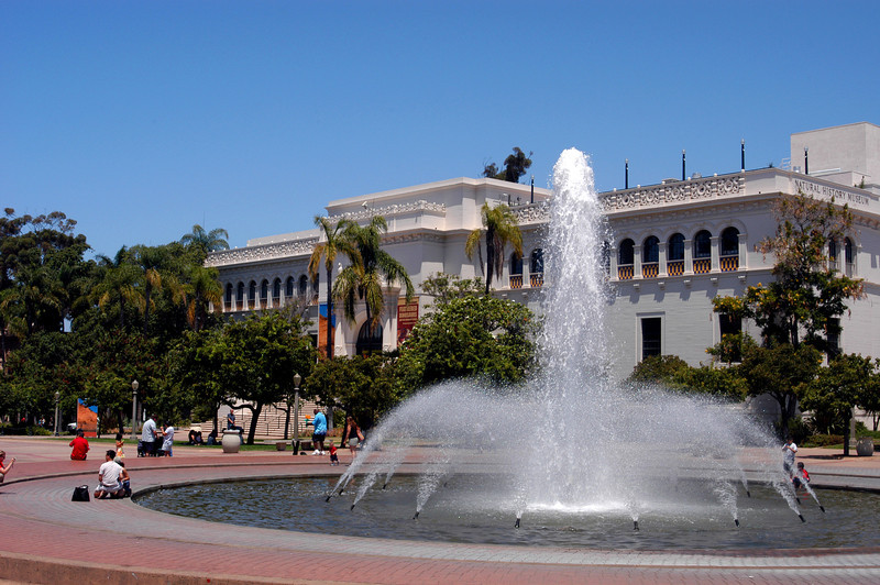 The Museum of Natural History and fountain in Balboa Park, San Diego, California.