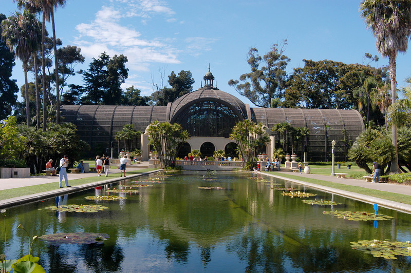 The Botanical Building and lily pond in Balboa Park, San Diego, California.