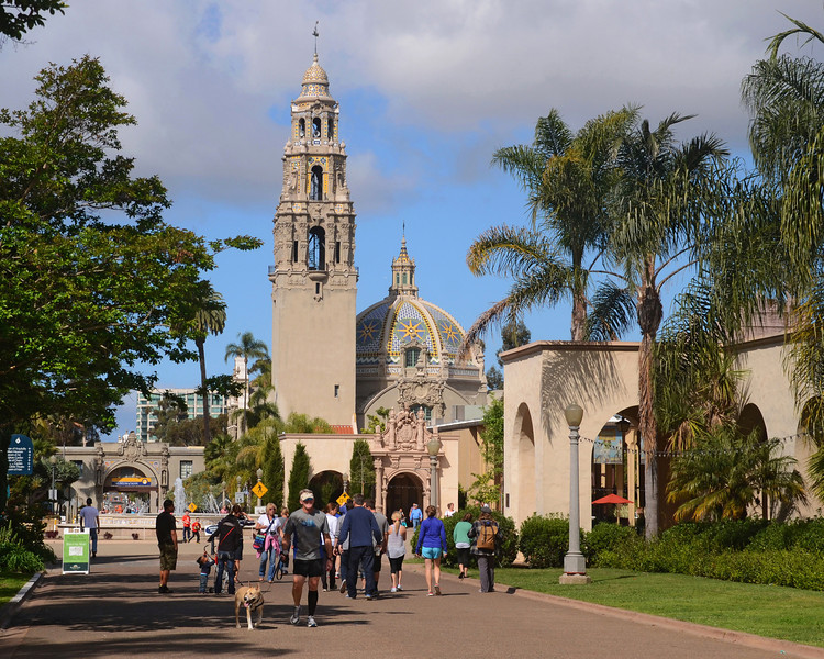 El Prado in Balboa Park with the California Tower in the background.