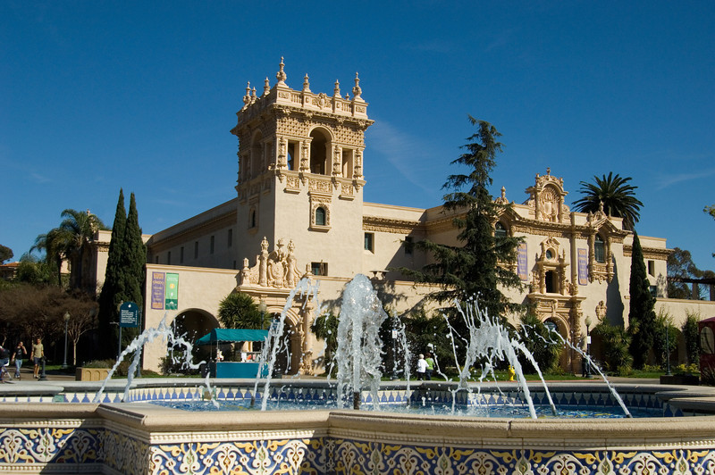 The House of Hospitality Building and fountain in San Diego's Balboa Park.