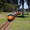 The Balboa Park miniture railroad makes another trip in San Diego, California.