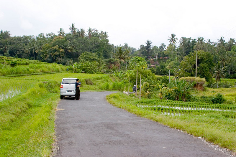 Typical rural road in Bali. Our car left-center.