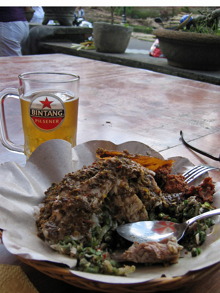 Ah, babi guling and a Bintang!  This easily could be our choice of our last meal on death row.