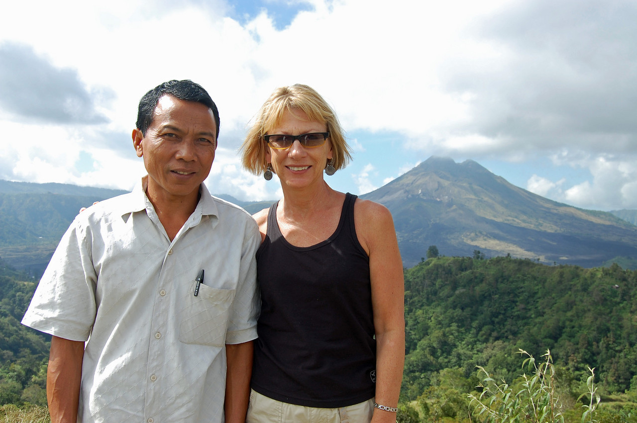 Our driver, Ketut & Jane at one of Bali's active volcanos, Gunung Batar. The last minor eruption was in 1994.