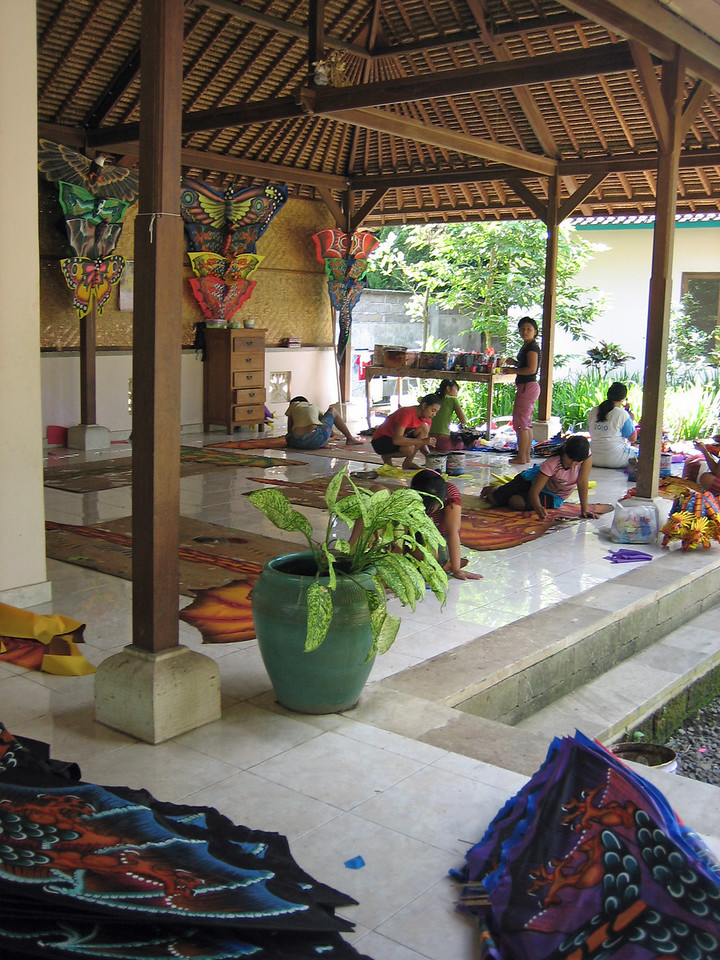 Balinese women handpainting kites.