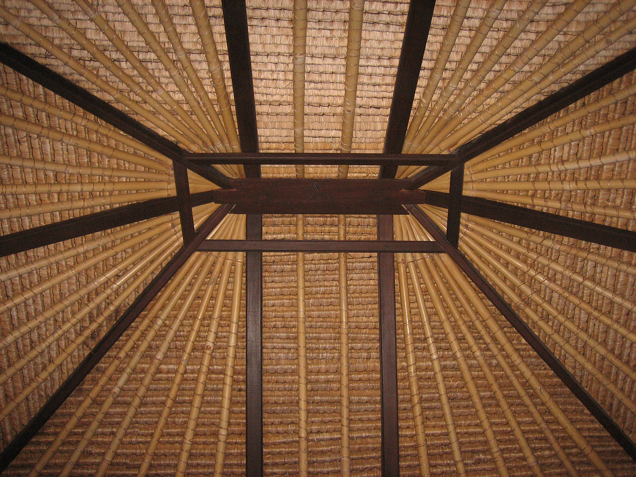 Our main room's ceiling.  Bamboo and a heavily thatched roof.