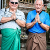 Bill and David in sarongs, ready to enter Elephant Cave temple area