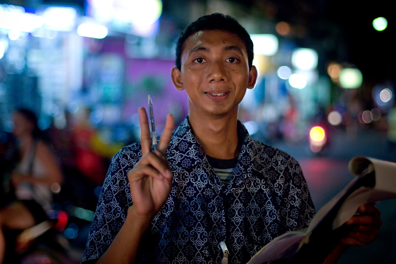 A friendly local on Jl Padma in Legian.