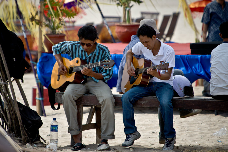 Buskers practicing at Jimbaran Beach.