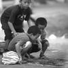 Distracted kids near Kuta.