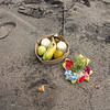 spiritual offerings, White sand beach Candidasa