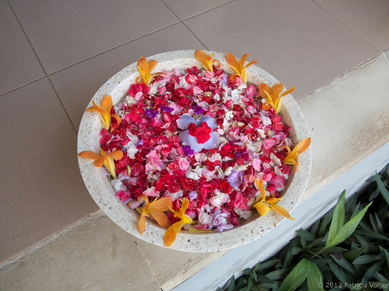 welcome flowers at the spa in Candidasa, Bali