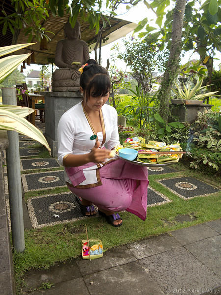 A local resident during a offering ritual, Ubud, Bali