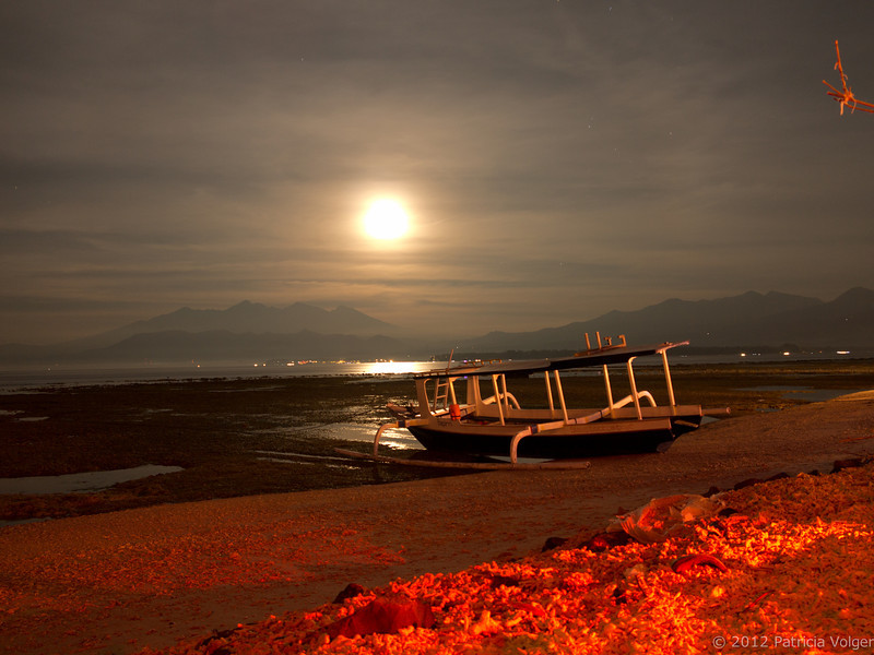 Moon rising over Lombok