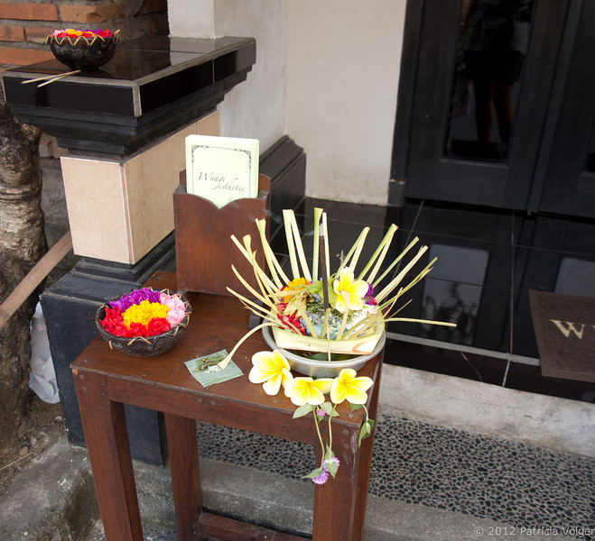 offerings in front of a local shop in Ubud, Bali