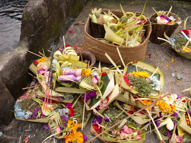 Offerings at the Pura Tirta Empul spring temple.