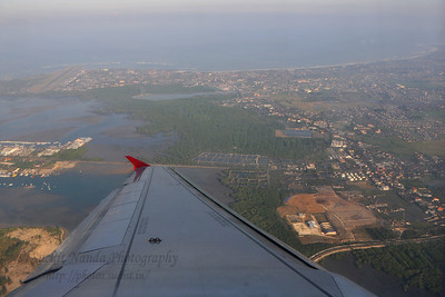 Ariel view of Bali as we took off in Air Asia flight from Ngurah Rai International Airport, Denpasar,  Bali, Indonesia to Kuala Lumpur, Malaysia.