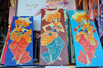 Artworks on sale.In Central-East of Bali is Sukawati. In the the centre of town is the renowned Pasar Seni, undoubtedly the best place to shop in Bali. The two-storey market is a maze of al ...