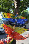 Kites in the shape of birds on sale in Sukawati.In Central-East of Bali is Sukawati. In the the centre of town is the renowned Pasar Seni, undoubtedly the best place to shop in Bali. The tw ...