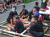 Boys waiting to parade their neighborhood ogoh-ogoh through the streets.