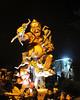 Fierce monkey king lit up at night