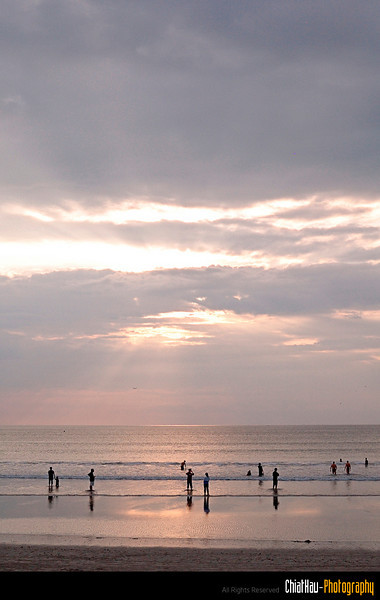 Here we are the KUTA beach and it is almost evening time.