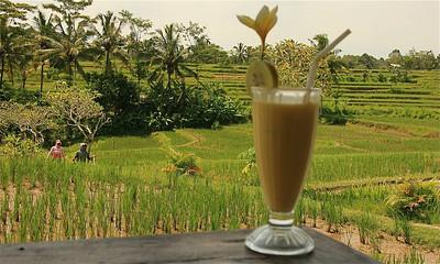 Mmmmmmm, een heerlijke ijskoude mango juice met uitzicht. Bangkiang Sidem, Bali, Indonesië.